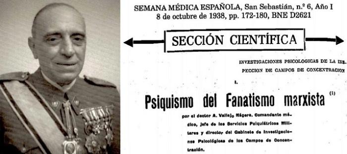 El teniente coronel Antonio Vallejo-Nágera y la portada de su estudio sobre el 'Psiquismo del Fanatismo marxista | Wikipedia y L. D.