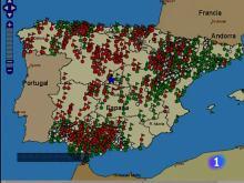 Mapa de la localización geográfica de las fosas comunes de los represaliados por el régimen de Franco en España