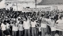Manifestación por la vivienda en Vallecas (Madrid) organizada por los movimientos vecinales años 70.