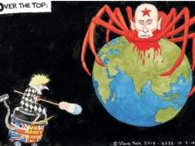 Una viñeta del diario británico «The Guardian», como un cartel nazi de los años 1940, representa a Rusia como una araña sangrienta, con la cabeza de Putin, que se apodera del mundo.