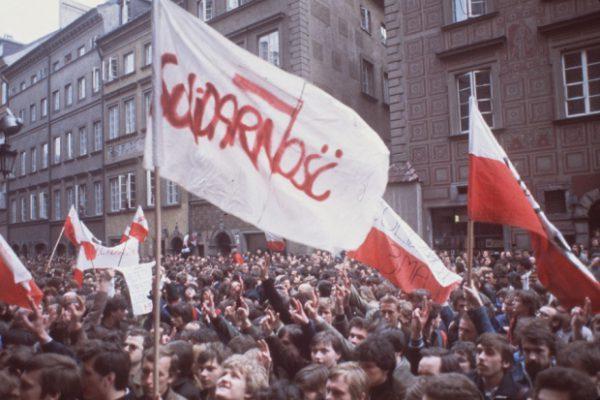 Manifestación de Solidarnosc en Polonia