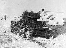 Un tanque T-26 republicano en la Guerra Civil Española